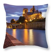 Twilight Over Notre Dame Throw Pillow