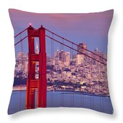 Twilight Over San Francisco Throw Pillow