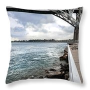 Twin Bridges Over Blue Water Throw Pillow