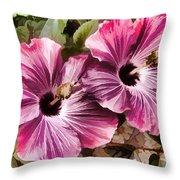 Twin Hibiscus Throw Pillow by Donna Proctor