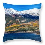 Twin Lakes Colorado Autumn Panorama Throw Pillow
