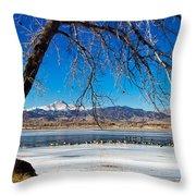 Twin Peaks Blue Throw Pillow
