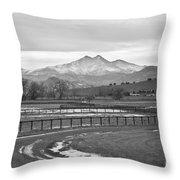 Twin Peaks Mt Meeker And Longs Peak Bw Country Throw Pillow