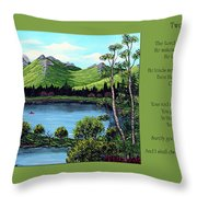 Twin Ponds And 23 Psalm On Green Horizontal Throw Pillow
