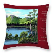 Twin Ponds And 23 Psalm On Red Horizontal  Throw Pillow