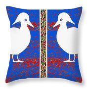 Twin Souls Love Birds Snow White Color Throw Pillow
