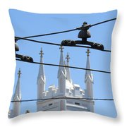 Twin Spires And Trolley Lines Throw Pillow