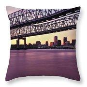 Twins Bridge Over A River, Crescent Throw Pillow