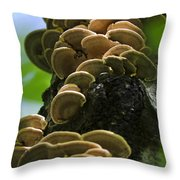 Twist Of Shrooms Throw Pillow by Christina Rollo