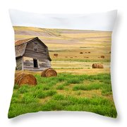 Twisted Barn On Canadian Prairie, Big Throw Pillow