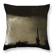 Twisted Desert Lightning Storm Throw Pillow