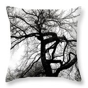Twisted Tree In Black And White Throw Pillow