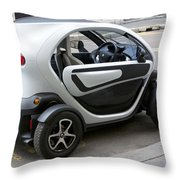 Twizy Rental Electric Car Side And Back Milan Italy Throw Pillow