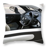 Twizy Rental Electric Car Side And Interior Milan Italy Throw Pillow