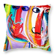 Two Abstract Faces Throw Pillow