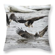 Two Against One Throw Pillow