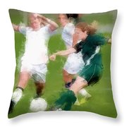 Two Against One Expressionist Soccer Battle  Throw Pillow