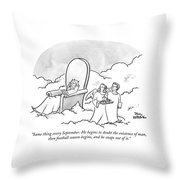 Two Angels Look On At God In His Throne Throw Pillow