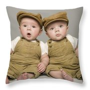 Two Babies In Matching Hat And Overalls Throw Pillow