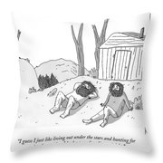 Two Bearded Men In Torn Clothing Lie Throw Pillow
