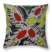 Two Beautiful Painted Palm Tree With Keg. Throw Pillow