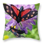 Two Black And Red Butterflies Throw Pillow