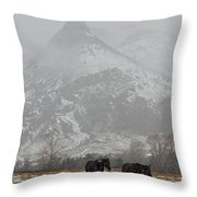 Two Black Horses In The Snow   #7983 Throw Pillow