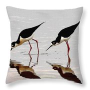 Two Black Neck Stilts Eating Throw Pillow