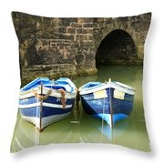 Two Blue Fishing Boats Throw Pillow