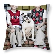 Two Boys And Their Dog Throw Pillow