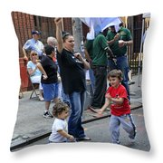 Two Boys Having Some Fun At The 200th Anniversary Of St. Patrick Old Cathedral Throw Pillow