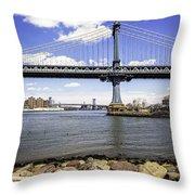 Two Bridges View - Manhattan Throw Pillow