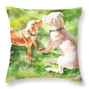 Two Brothers Labradors Throw Pillow