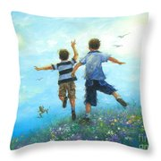 Two Brothers Leaping Throw Pillow