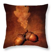 Two Brown Acorns Throw Pillow