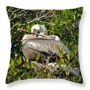 Two Brown Pelicans Throw Pillow