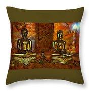 Two Buddhas Throw Pillow