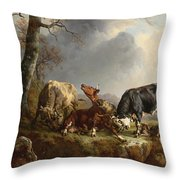 Two Bulls Defend Against A Cow Attacked By Wolves Throw Pillow by Jacques Raymond Brascassat