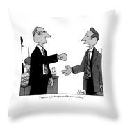 Two Business Men Stand Together Throw Pillow