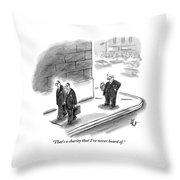 Two Businessmen Pass A Rich Man Smoking A Cigar Throw Pillow