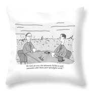 Two Businessmen Talk At A Desk Scorched Earth Throw Pillow