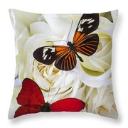 Two Butterflies On White Roses Throw Pillow
