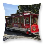 Two Cable Cars San Francisco Throw Pillow