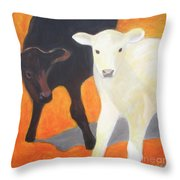 Two Calves Throw Pillow