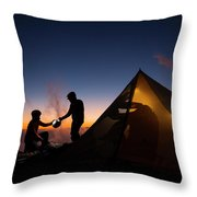 Two Campers Preparing Throw Pillow