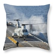 Two Ch-46e Sea Knight Helicopters Throw Pillow