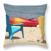 Two Chairs And A Boat Throw Pillow