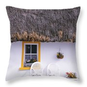 Two Chairs Outside A Cottage, County Throw Pillow