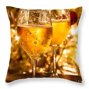 Two Champagne Glasses Ready To Bring In The New Year Throw Pillow