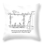 Two Children Are Seen Eating Lunch And Talking Throw Pillow